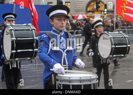 London,UK,1st January 2014,Essex marching Corps from Benfleet took part in the London's New Year's Day Parade 2014 - Stock Photo