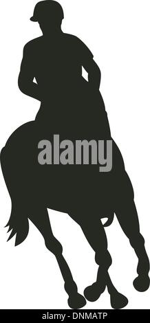 Ill lustration of a horse and jockey equestrian show riding front silhouette  done in retro style. - Stock Photo