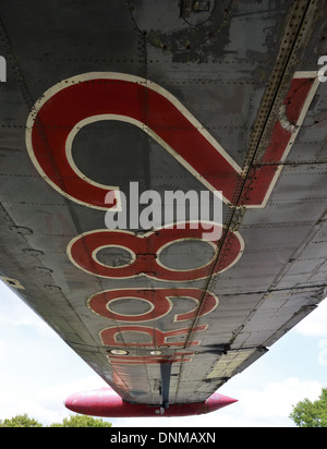 Large numbers painted on the wing of a plane, an Avro Shackleton - Stock Photo