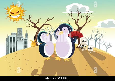 A vector illustration of a global warming concept, with penguins on a dry hot land - Stock Photo
