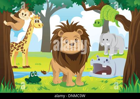 A vector illustration of wild jungle animals in the animal kingdom - Stock Photo