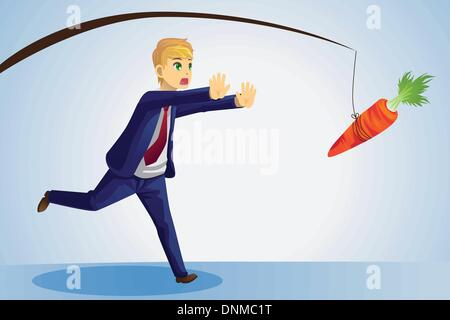 A vector illustration of a businessman trying to reach a carrot dangled on a stick in front of him - Stock Photo