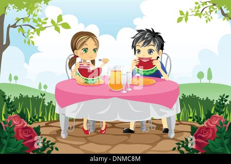 A vector illustration of two kids eating watermelon in a park - Stock Photo