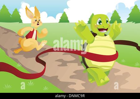A vector illustration of tortoise and hare racing - Stock Photo