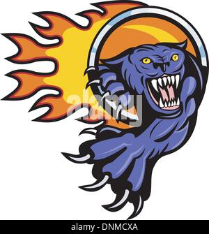 illustration of a Panther attacking with ring of fire in background isolated on white - Stock Photo