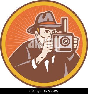 illustration of a Photographer with vintage camera set inside circle. - Stock Photo