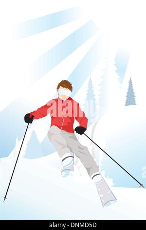 Vector illustration of a skier skiing in the mountain - Stock Photo
