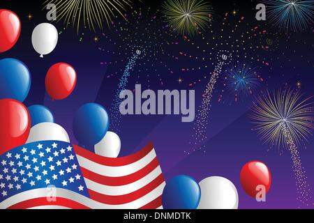 A vector illustration of Fourth of July fireworks celebration - Stock Photo