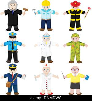 A vector illustration of icons of people with different occupations - Stock Photo