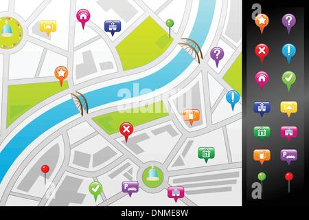 A vector illustration of a GPS street map with usable icons - Stock Photo