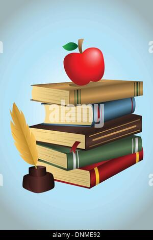 A vector illustration of a stack of books and an apple - Stock Photo