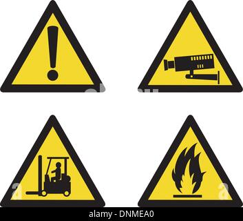 illustration of workplace signs showing warning, caution, security camera, forklift truck operation and flammable - Stock Photo