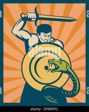 illustration of a Warrior with sword and shield striking a snake or serpent with sunburst in background - Stock Photo