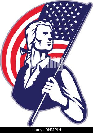 Illustration of a patriot minuteman revolutionary soldier holding an American stars and stripes flag on isolated - Stock Photo