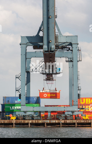Container Base, River Tees,Teesside, England - Stock Photo