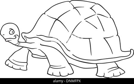 Cartoon Vector Illustration Of Funny Big Turtle For Coloring Book