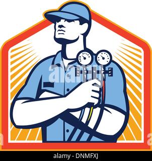 Illustration of a refrigeration and air conditioning mechanic holding a pressure temperature gauge front view set - Stock Photo