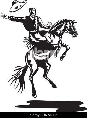 Illustration of rodeo cowboy riding bucking horse bronco on isolated white background - Stock Photo