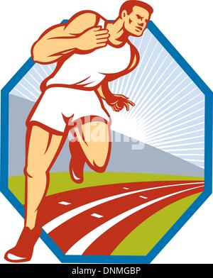 Illustration of a marathon runner track and field athlete running on race track done in retro style set inside hexagon. - Stock Photo