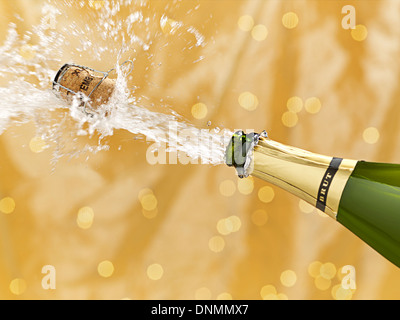 Uncorked bottle of champagne - Stock Photo