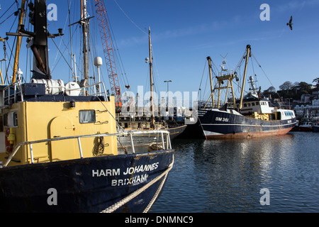 fishing boats,Brixham,Devon,harm johannes,trawlers,bm,boat, breakwater, brixham, coast, devon, england, fish, fishing, - Stock Photo