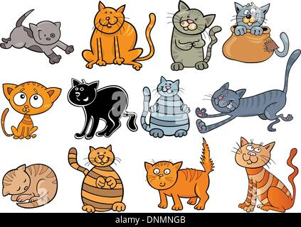 cartoon illustration of funny twelve cats set - Stock Photo