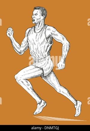 illustration of a track and field athlete running done in sketch drawing style - Stock Photo