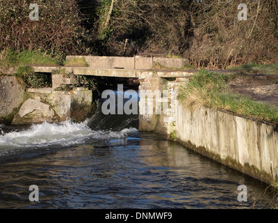 The remains of Compton Lock on the Itchen Navigation near Shawford, England no used as a small weir and formerly - Stock Photo