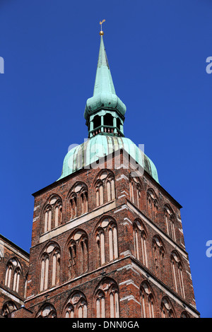 Stralsund, Germany, View of the tower of St. Nicholas Church - Stock Photo