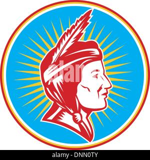 Illustration of a native american indian squaw woman viewed from side done in retro woodcut style set inside circle - Stock Photo