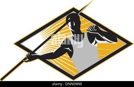 Illustration of a track and field athlete javelin throw spear throwing set inside diamond done in retro woodcut - Stock Photo