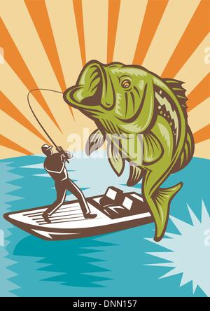 illustration of a Largemouth Bass Fish jumping being reeled by Fly Fisherman on bass boat with Fishing rod   done - Stock Photo