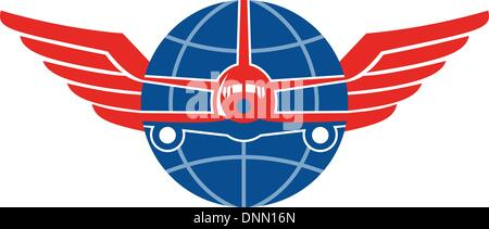 Illustration of a jumbo jet airplane plane viewed from front with wings and globe on isolated white background. - Stock Photo