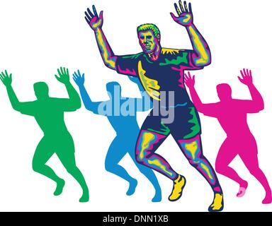 Illustration of a happy marathon runner running with hands up done in retro style on isolated white background - Stock Photo