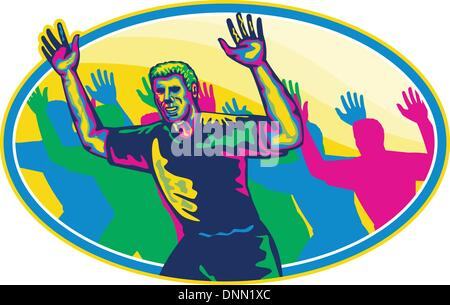 Illustration of a happy marathon runner running with hands up done in retro style on isolated white background set - Stock Photo