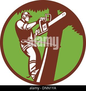 Illustration of a tree surgeon arborist trimmer pruner cutting with chainsaw climbing tree set inside circle done - Stock Photo