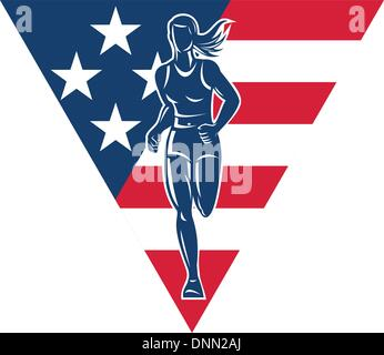 illustration of a female Marathon road runner jogger fitness training road running with American flag stars and - Stock Photo