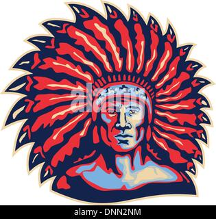 Illustration of a native american indian chief viewed from front done in retro style on isolated white background. - Stock Photo