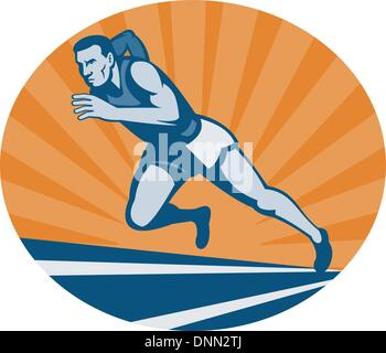 illustration Marathon runner on track with sunburst viewed from an extremely low angle. - Stock Photo