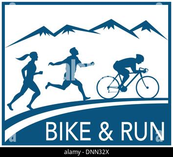 illustration of a silhouette of marathon runner and cyclist  race with mountains and words bike and run done in - Stock Photo