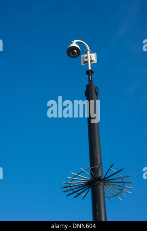 Overhead CCTV camera on a street in Manchester, England, UK - Stock Photo