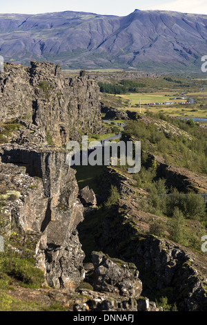 Thingvellir located on a fissure zone running through Iceland, on the tectonic plate boundaries of the Mid-Atlantic - Stock Photo