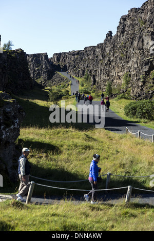 Thingvellir located an a fissure zone running through Iceland, on the tectonic plate boundaries of the Mid-Atlantic - Stock Photo