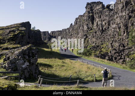 Thingvellir located on a fissure rift zone running through Iceland, on the tectonic plate boundaries of the Mid - Stock Photo