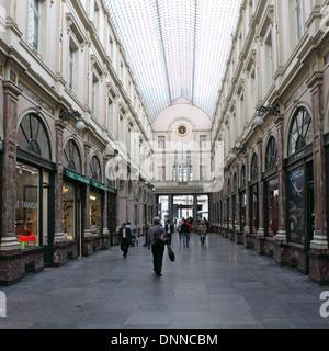 The Galeries Royales Saint-Hubert (Koninklijke Sint-Hubertusgalerijen) shopping gallery in Brussels, Belgium. - Stock Photo