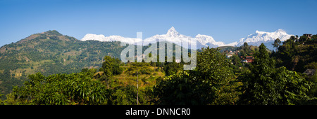 View to the Annapurna Himalayan Range near Sarangkot, Nepal - Stock Photo