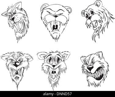 Aggressive animal heads. Set of black and white vector tattoo designs. - Stock Photo
