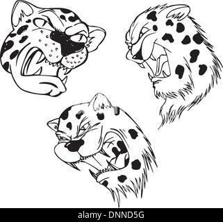 Aggressive leopard heads. Set of black and white vector tattoo designs. - Stock Photo