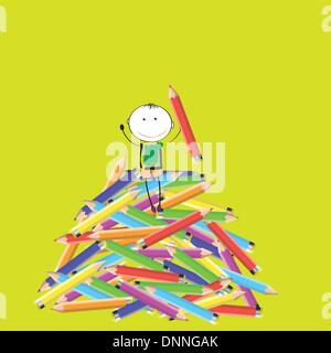Happy colorful kids on many colorful crayon - Stock Photo