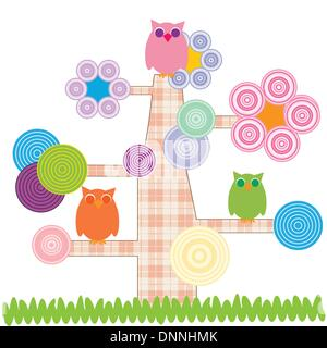 Cute kids cartoon with tree and owns - Stock Photo